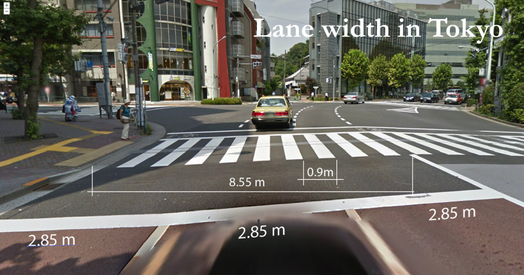Typical lane width in Tokyo is 2.85 meters