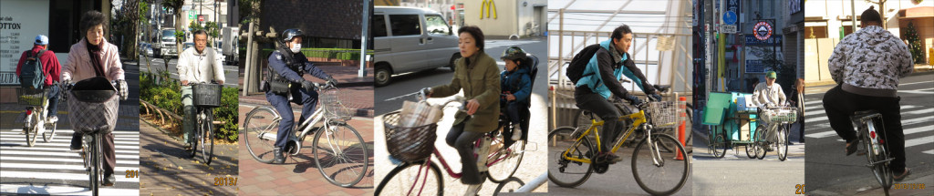 Bicycle users in Tokyo includes all walks of life. Male & female, young & elderly, mothers and kids, workers and office ladies.