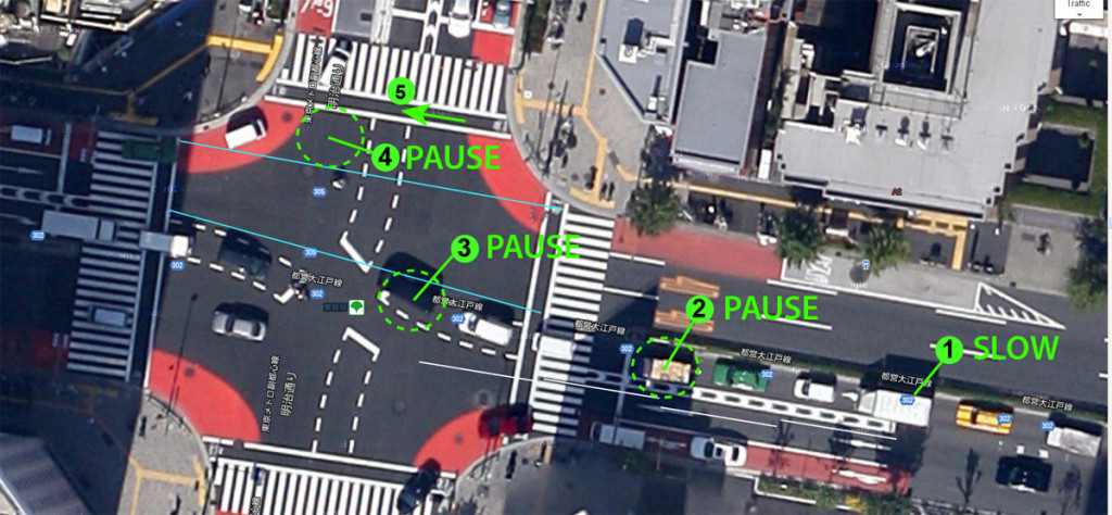 "Safe junction design in Tokyo prepares drivers to slow down, and provides safe space to ""PAUSE and WAIT""."