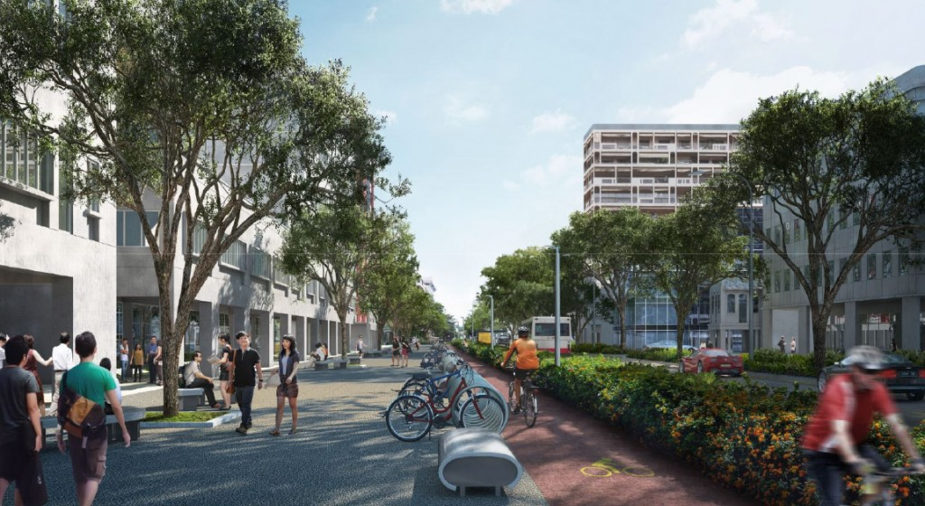New design of Bencoolen Street incorporate bicycle lane and extra wide pavement for pedestrians.