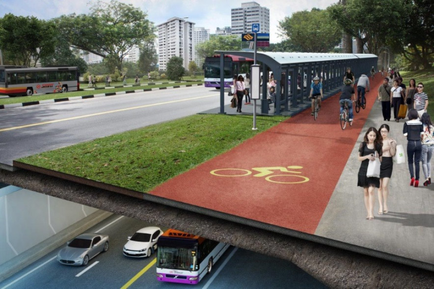 New design of NSE includes dedicated bus lane and cycle lane.