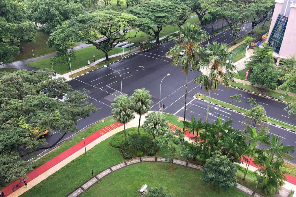 A slip road was removed at the junction of Ang Mo Kio Avenues 1 and 3 to make way for a cycling path. PHOTO: LTA